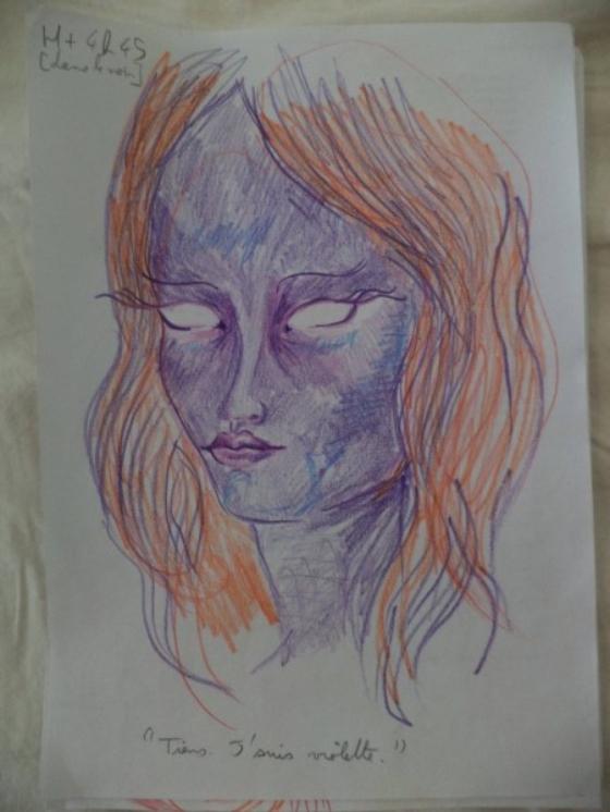 ציורים בהשפעת אסיד LSD בחורה מציירת את עצמה