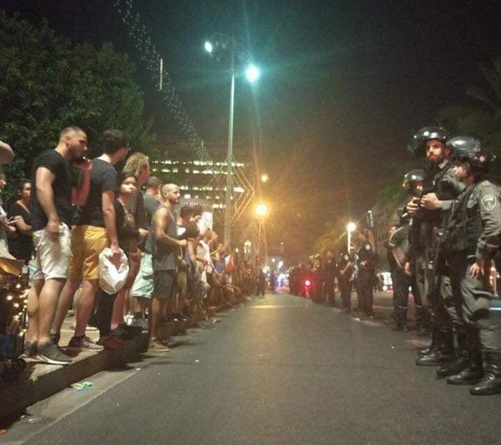 הפגה של טראנס בככר רבין שוטרים מול מפגינים 2019